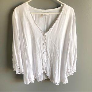 Soft Surroundings White Button Front Lace Blouse